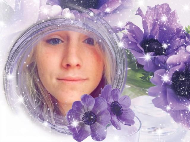 alexa in purple flowers