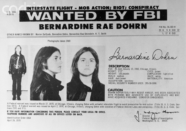 Wanted Poster for Bernardine Dohrn
