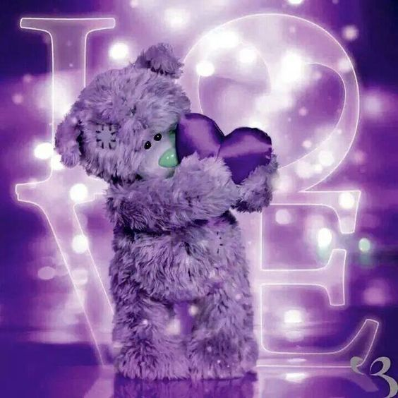 purple love with bear