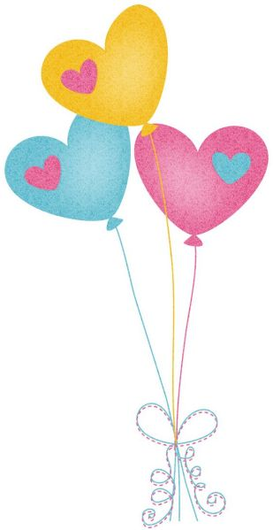 pastel baloons. with hearts